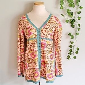 Vintage Lucky Brand Floral Button down blouse